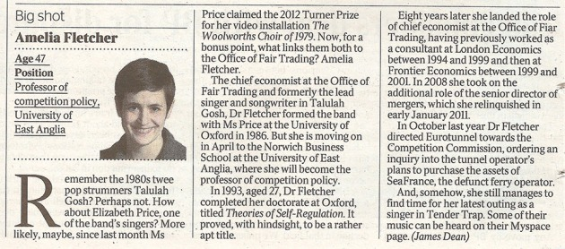 Times coverage of Amelia Fletcher appointment